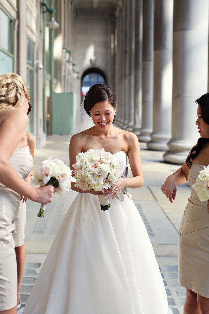 Bridal Bouquet. Bridesmaid Bouquet. Garden Rose. Cymbidium Orchid. Ranunculus. Spray Rose. White, Blush, and Cream. The Rasers Photography. Vale of Enna Flowers. Rookery. Chicago Wedding.
