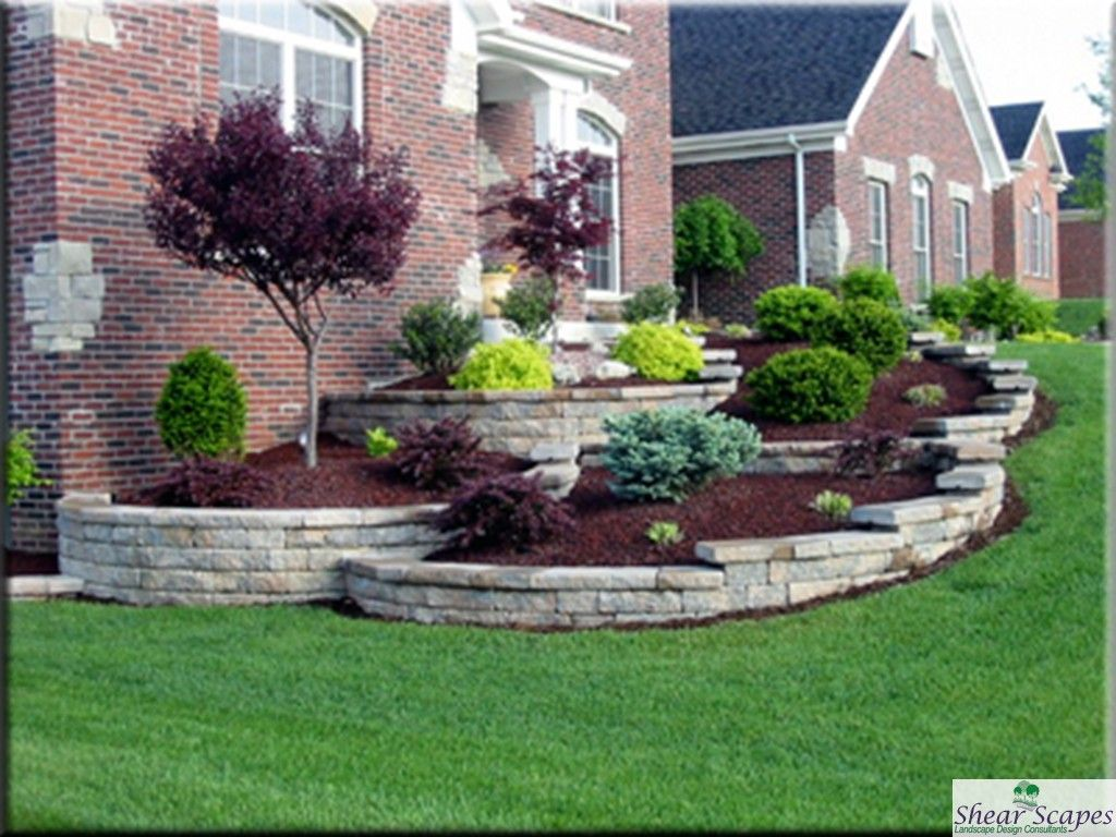 Low maintenance landscaping around house design and for Front yard landscaping
