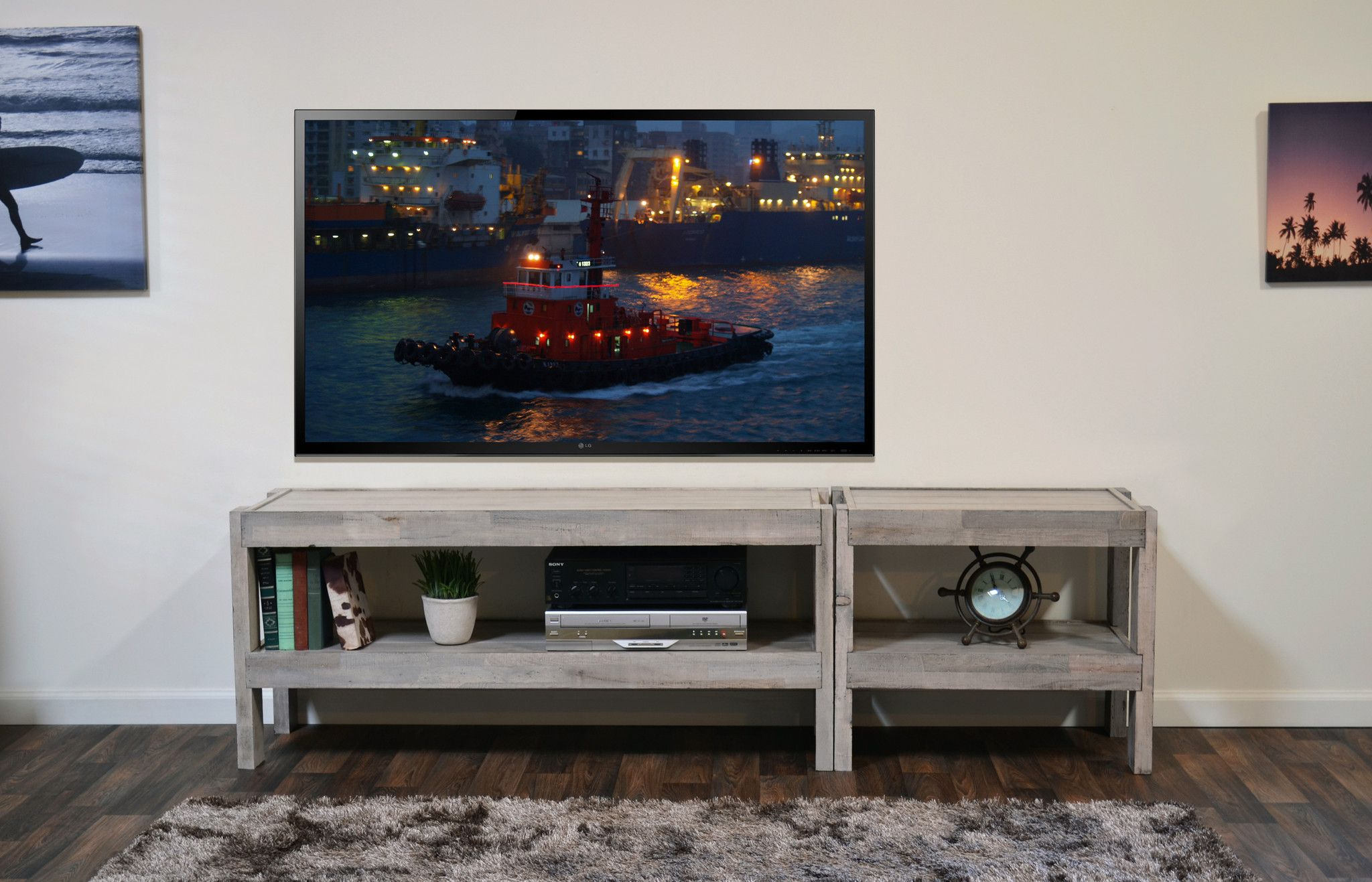 Beach House Tv Stand Presearth Driftwood 2 Piece