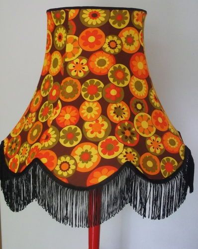 Large vintage lampshade 1960s retro fabric for standard lamp as a kid in the 70s i could not get away from orange and brown hate both colours to this day makes me want to vomit ugly ugly ugly mozeypictures Choice Image