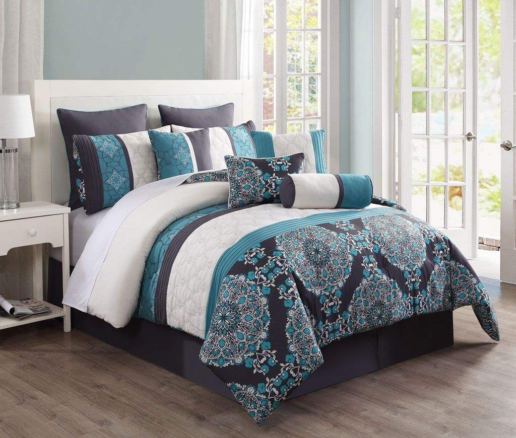 Kinglinen 10 Piece Justine Charcoal And Teal Reversible Comforter Set