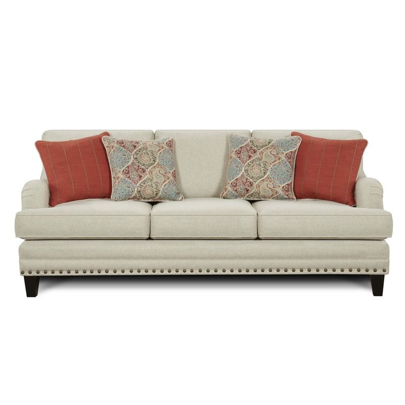 This Light Gray Sofa Is Accented With Nailhead Trim, Wood Legs, And Charles  Of London Style Arms. Fusion Burash Grey Linen Sofa With Nailhead ...