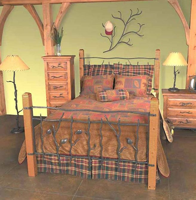Rustic Iron Sassafras Bed With Pine Posts