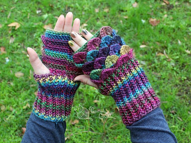 Dragon Scale Fingerless Gloves Gauntlets pattern by Crowned Crochet #crownscrocheted This is my first pattern that I've actually written down completely, and I am so excited for it! This is an intermediate pattern, and you should be familiar with the crocodile stitch, front and back post double crochet, and decreasing front and back post double crochet. #crownscrocheted Dragon Scale Fingerless Gloves Gauntlets pattern by Crowned Crochet #crownscrocheted This is my first pattern that I've act #crownscrocheted