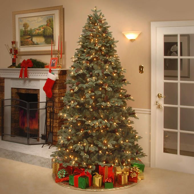 "Slim Christmas Tree Costco: 2.29 M (7.5 Ft.) ""Feel-Real"" Oakridge Blue Hinged Tree"