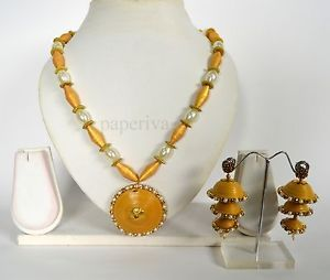 Superior Golden Paper Quilling Necklace & Triple Layer Quilled Jhumka Earrings