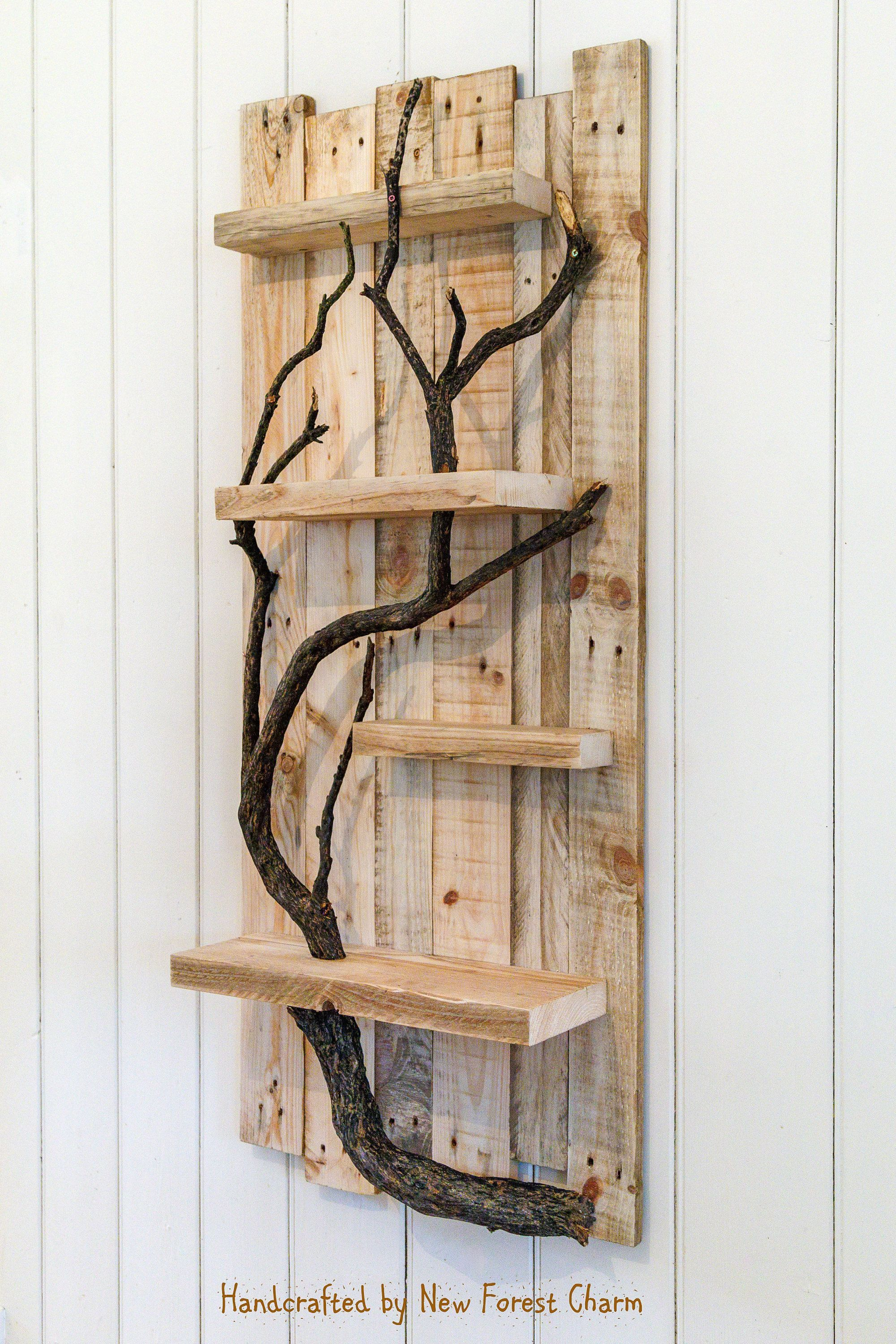Rustic Home Decor Wall Art Reclaimed Pallet Shelves Wooden Home Decor 4 Shelf Tree Branch By Newforestcharm Home Decor Wall Art Wood Home Decor Diy Wall Decor