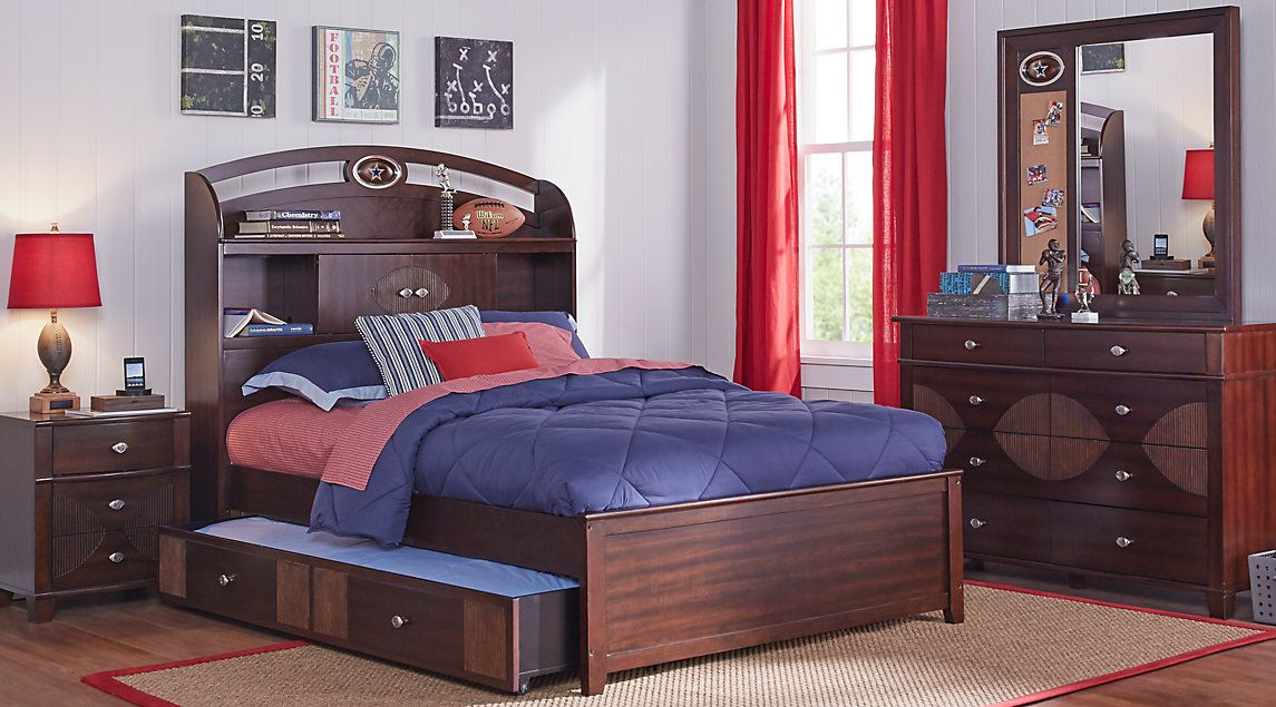 NFL Playbook Espresso 5 Pc Twin Bookcase Bedroom | furniture | my ...