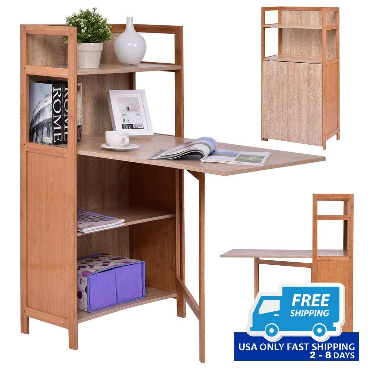 2 In 1 Convertible Wood Folding Desk Cabinet With Bookshelf Desk Cabinet Convertible Desk Computer Desk With Shelves