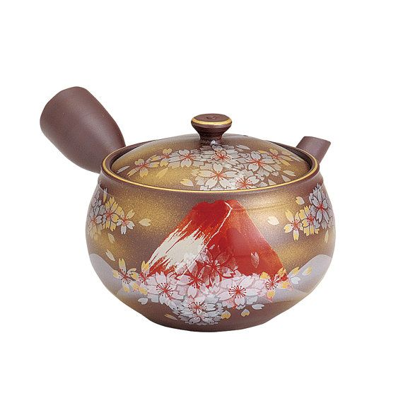 World Heritage Mt. FUJI (Red) - Japanese Pottery Tea Pot 340cc Fine Mesh Net