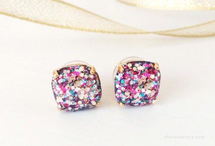 Kate Spade Inspired Glitter Stud Earrings