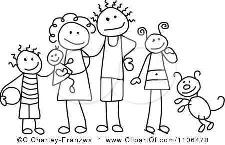 Clipart Black And White Stick Drawing Of A Happy Mother And Stick Figure Family Stick Drawings Stick Figure Drawing