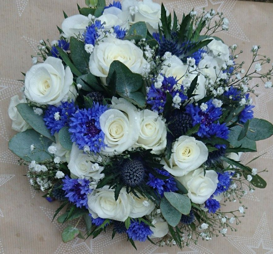 White Rose Thistle Cornflower Gypsophila And Eucalyptus Bridal Bouquet Cornflower Wedding Bouquet Cornflower Bridal Bouquet Wedding Bouquets Bride