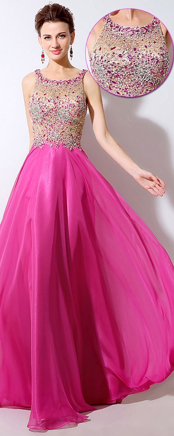 Exquisite Tulle & Chiffon Scoop Neckline See-through A-Line Prom ...
