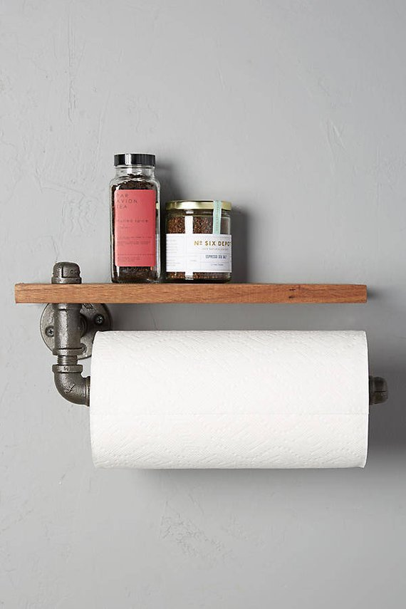 Industrial Rustic Paper Towel Holder With Shelf Rustic Toilet Paper Holders Kitchen Paper Towel Rustic Paper
