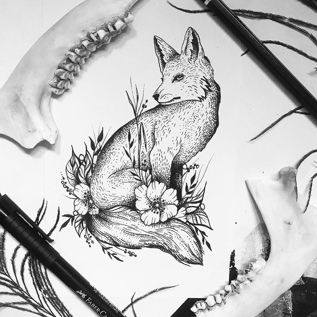 Super elegantes Fuchstattoo für J., tausend Dank dir für das schöne Projekt🖤  #finelinetattoo #tattoo #tats #ink #inked #getinked #blackworkillustrations #btattoing #darkartists #germantattooers #wuppertal #ecke_wunderland #smada123_ #tattooart #tattooing #instagood #instaart #tatts #ttblackink #dotwork #blackwork #fox #foxtattoo #nature #naturetattoo #flowers #flowerstattoo #illustration #fabercastell #drawing