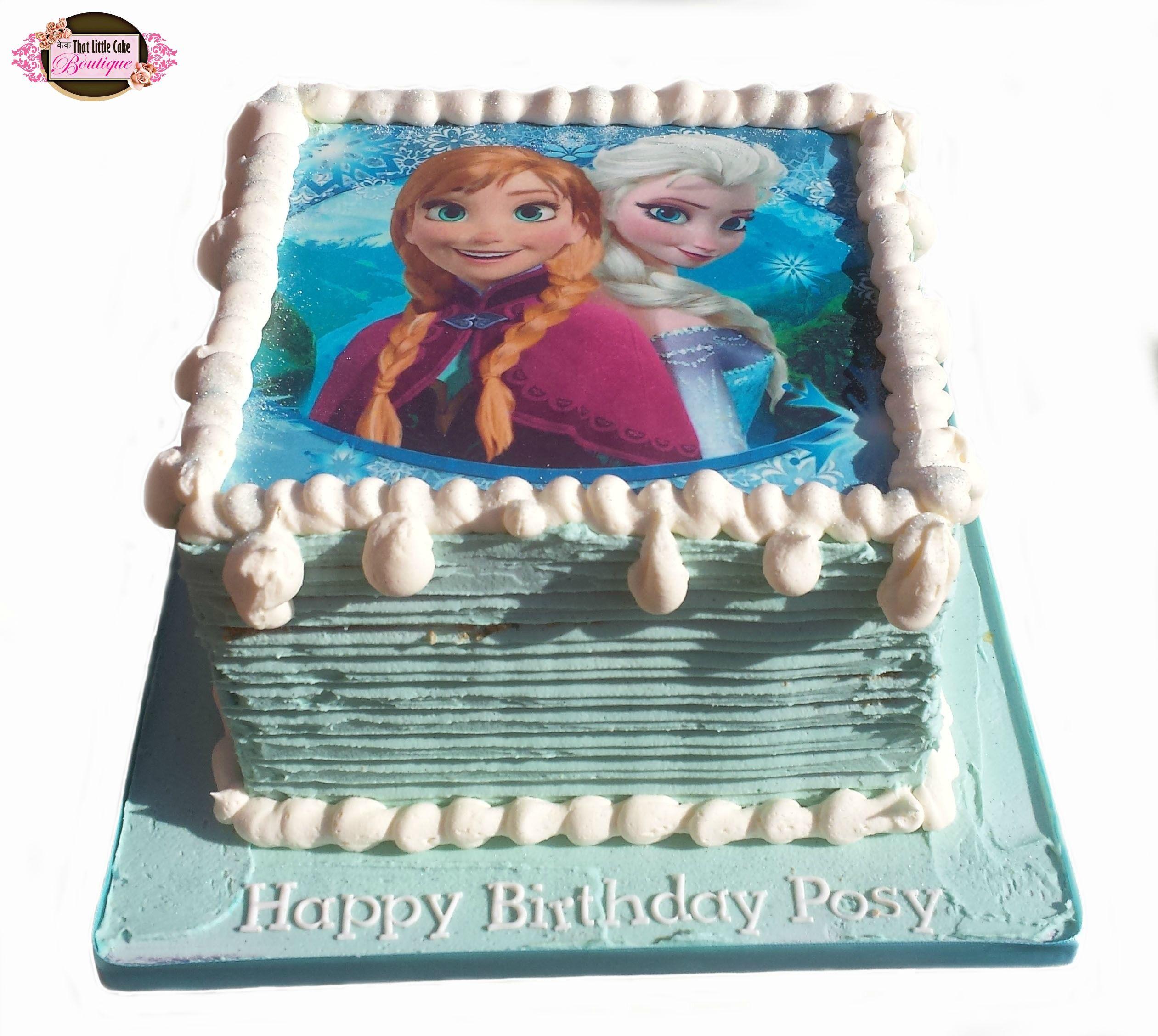 Frozen Frozen Cake Buttercream Cake Square Anna Elsa Blue