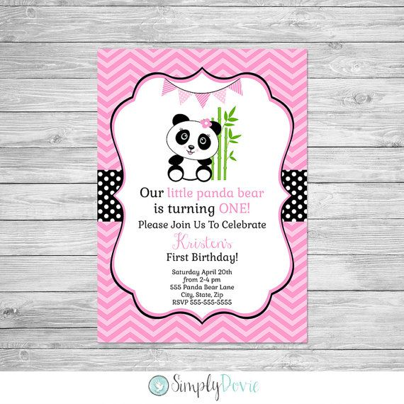Panda birthday invitation printable panda bear birthday party panda birthday invitation printable this is a digital file that i customize for you and stopboris Gallery