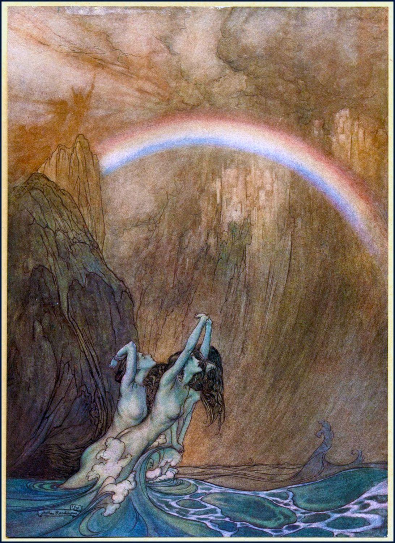 Famous Arthur Rackham Rainbow Mermaids. Vintage Fairy Tale