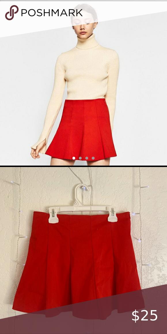 Red Pleated Zara Tennis Skirt In 2020 Tennis Skirt Skirts Zara Skirts