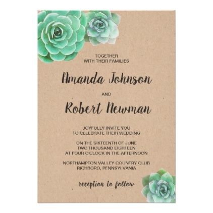 Watercolor succulents wedding invitation invitations watercolor succulents wedding invitation invitations personalize custom special event invitation idea style party card stopboris Gallery
