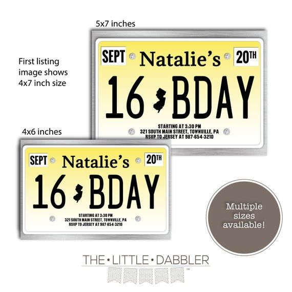 Printable New Jersey State License Plate 16th Birthday Party Invitation -- Sweet 16 Birthday, First Driver's License Invitation #sweet16birthdayparty