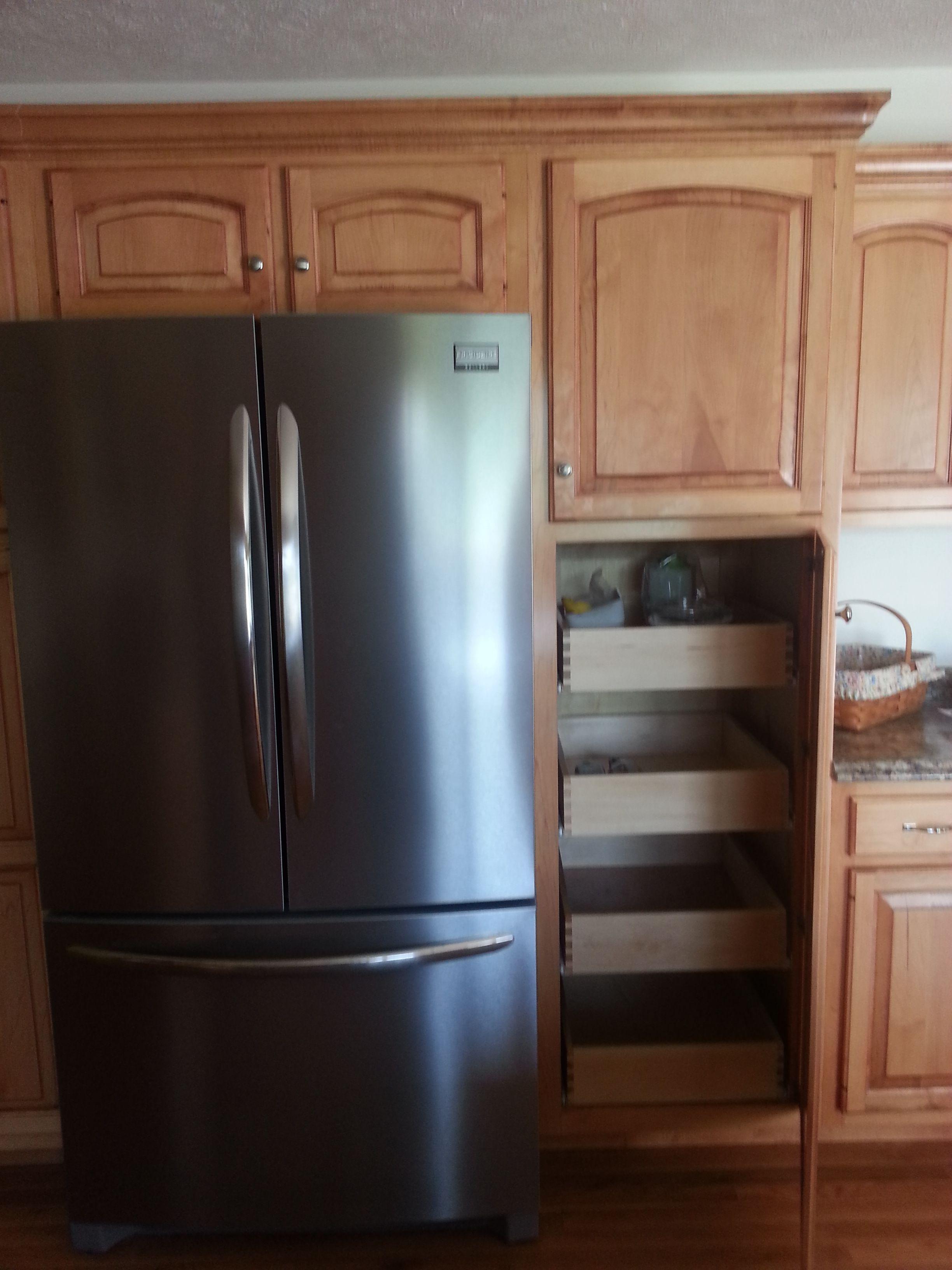 cabinet around refrigerator | Kitchen design, Kitchen ...