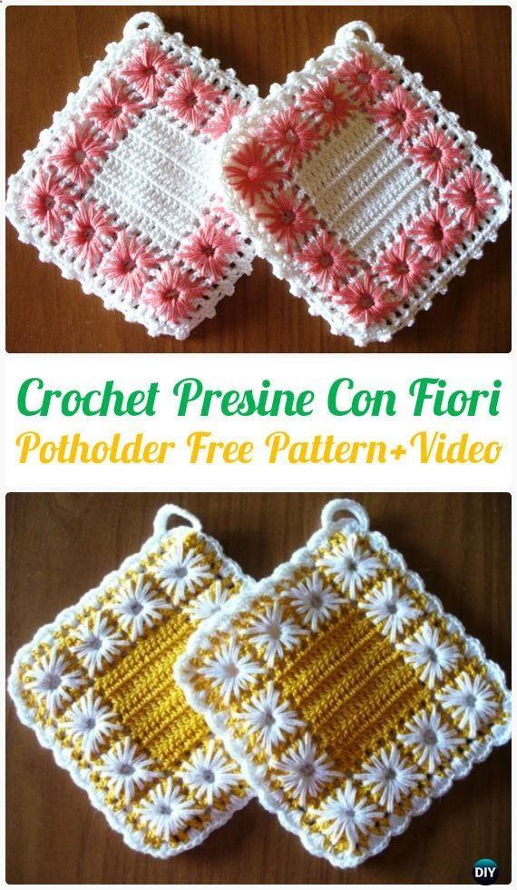Crochet Presine Con Fiori Potholder Free Pattern Video - #Crochet ...