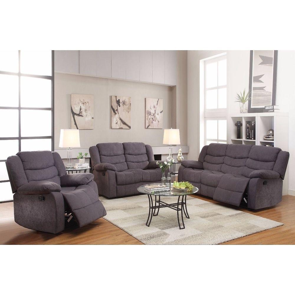 Benzara Sophisticated Grey Velvet Motion Sofa Gray