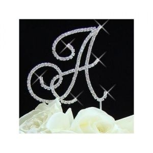 Full Crystal Rhinestone Monogram Cake Toppers Silver Initial - Online Best Gifts