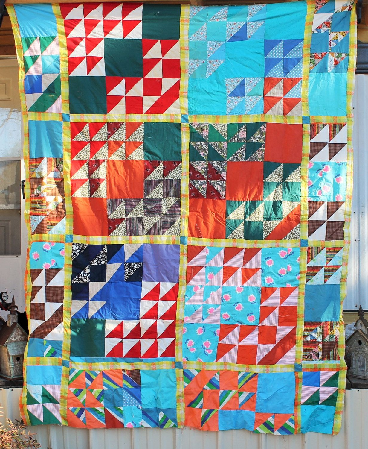 ANTIQUE Unfinished QUILT TOPS For Sale, Vintage Handmade Feedsack ... : feedsack quilts for sale - Adamdwight.com