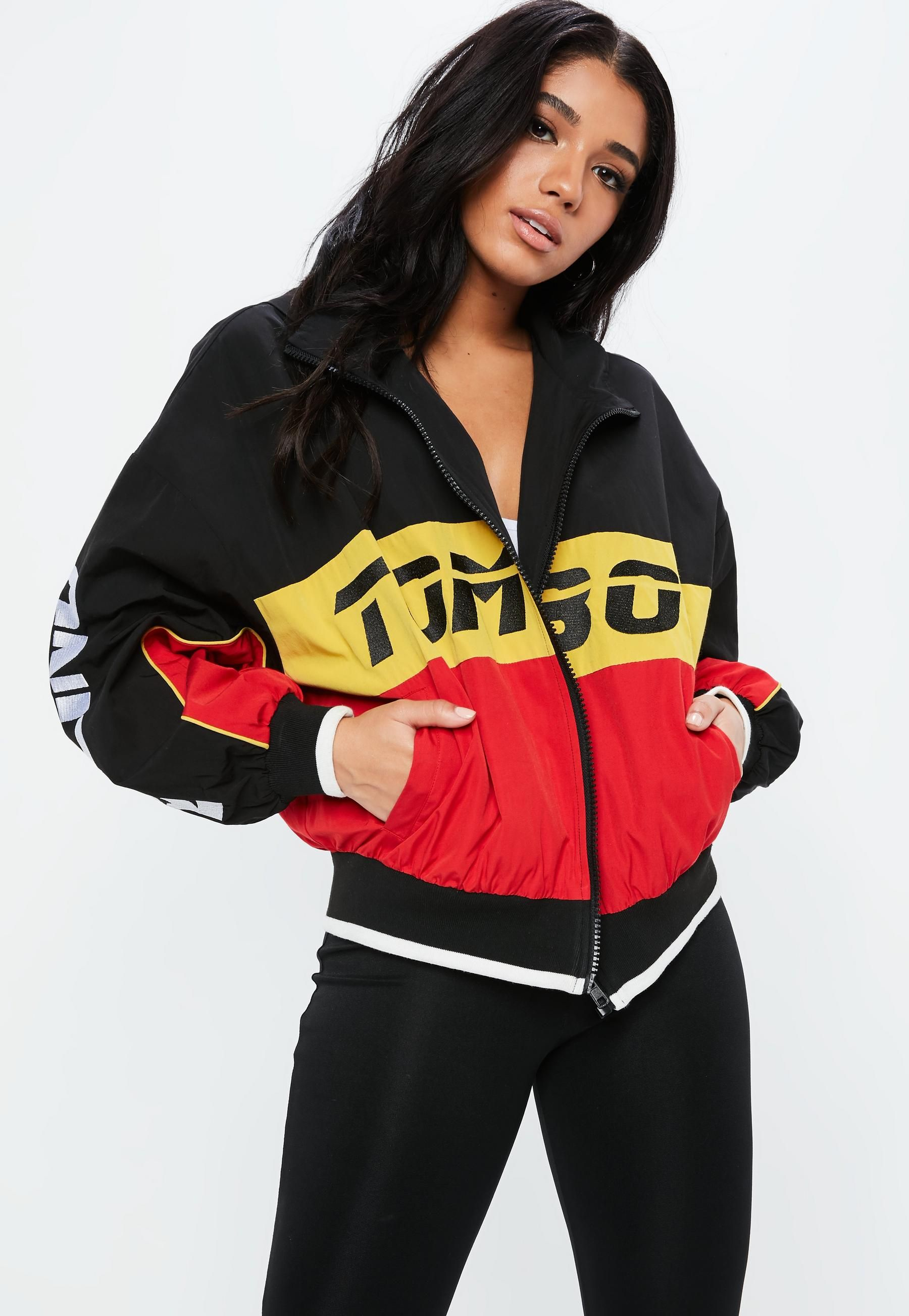 9a2844e34dacd ... Fanny Lyckman x Misguided Black Racer Sports Jacket Missguided  clearance prices 31b8e 04d15  TOMMY HILFIGER Long Wool Bomber Gigi Hadid ...