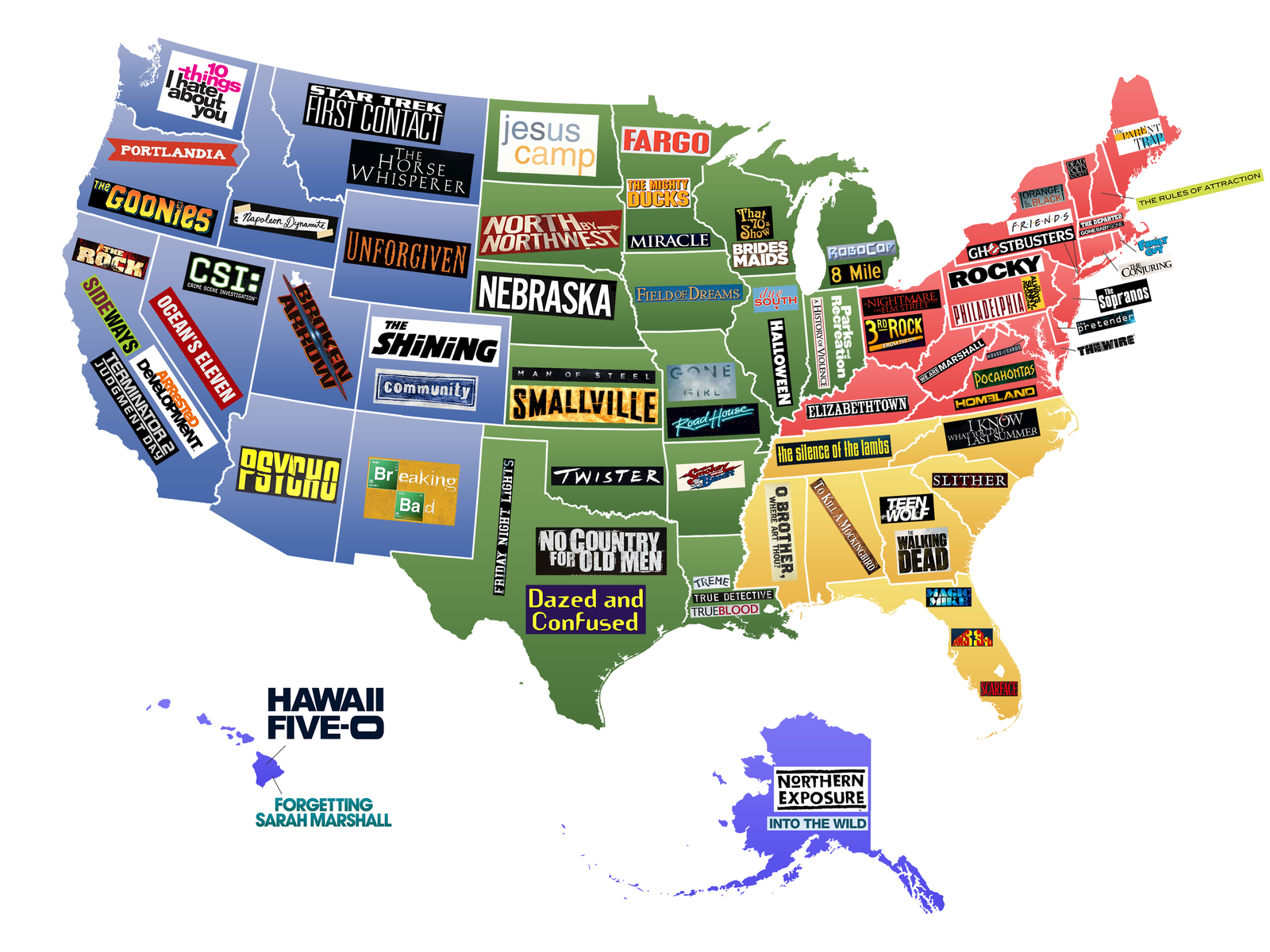 This Map Shows Famous Movies TV Shows Set In Each US State - Show nebraska on us map