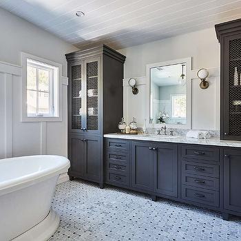 Floor Black Bathroom Linen Cabinet With Metal Lattice Cabinet