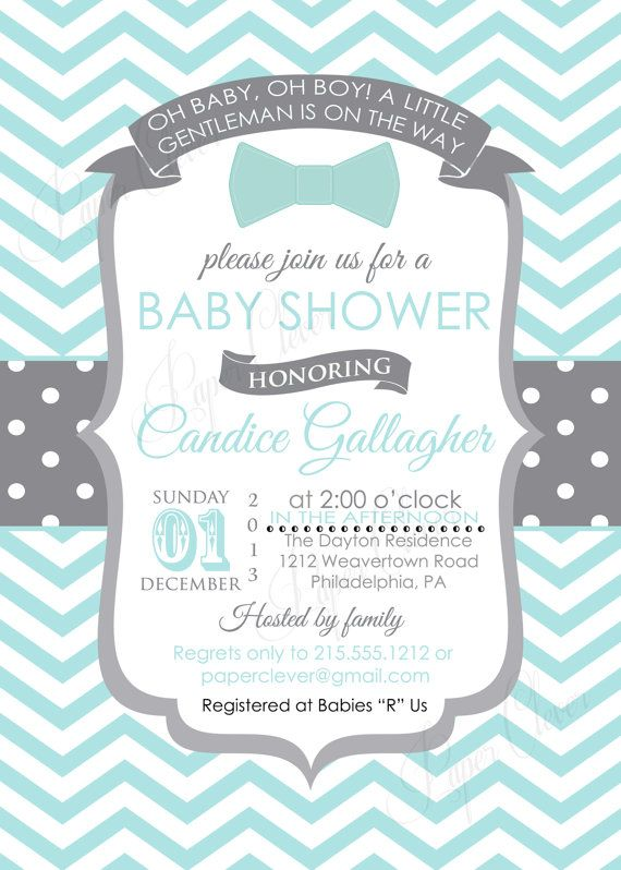 boys bow tie baby shower invitations  little gentleman shower, Baby shower invitation