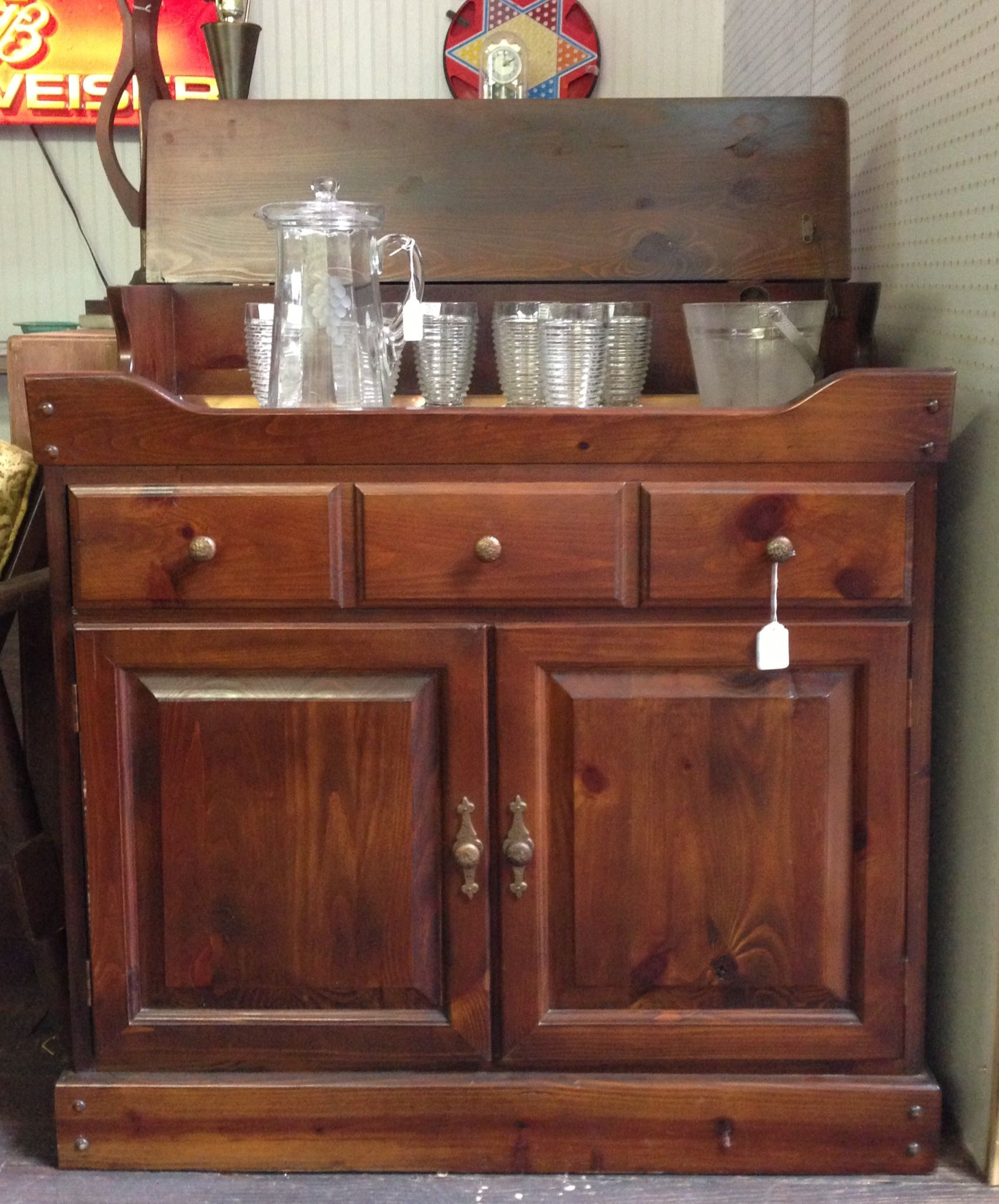 Sold Copper Lined Dry Sink Great Bar Solid Furniture Dry Sink