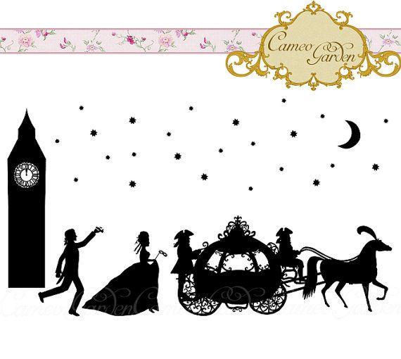 Silhouette Cinderella Clipart Romantic Fairy Tale Clip Art Etsy Cinderella Silhouette Fairy Tales Graphic Fun