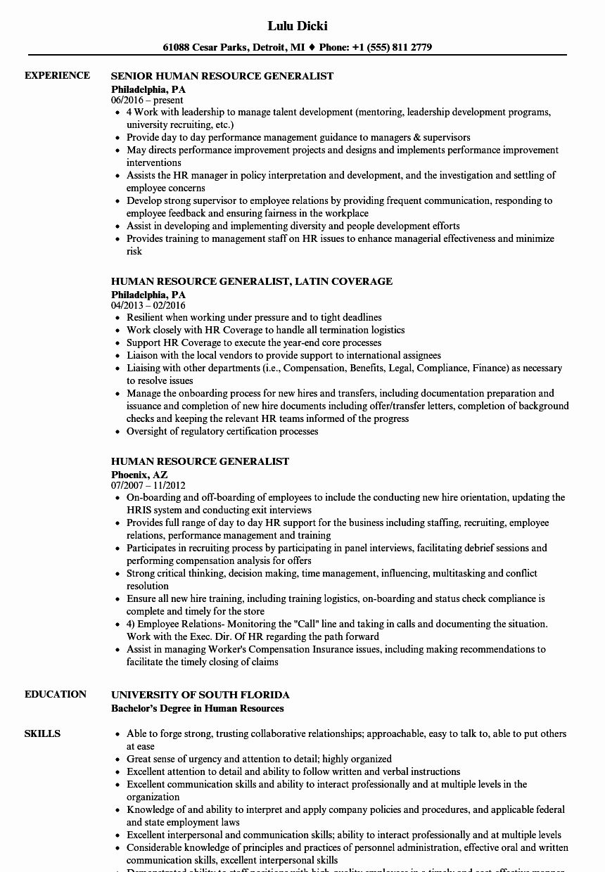 Human Resources Entry Level Resume Inspirational Human