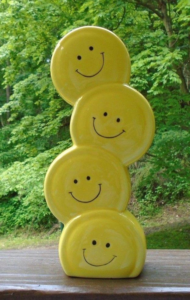 Vtg Smiley Face Yellow Vasestacked Faces 1980 Fib Artdecostyle