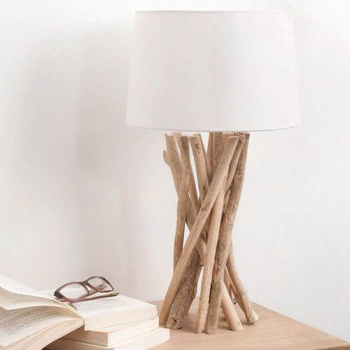 lampe en bois flott et abat jour en coton h 55 cm lampe. Black Bedroom Furniture Sets. Home Design Ideas