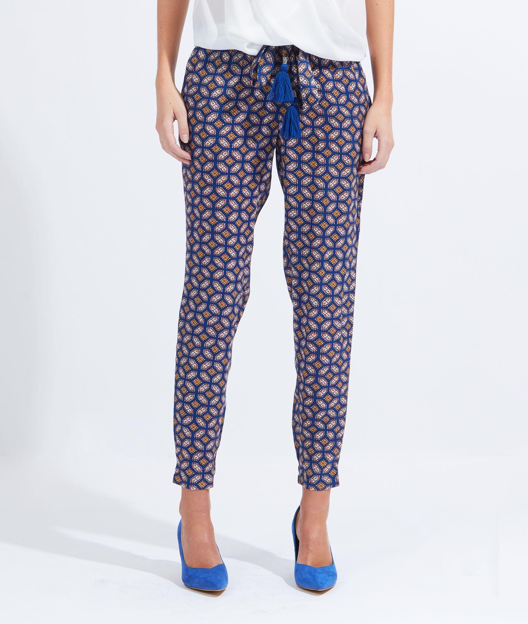 Pantalon fluide imprim lien taille pompons djerba bleu etam whish list bas - Quelle couleur avec pantalon bleu marine ...