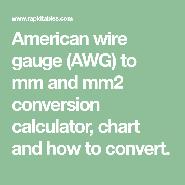 Wire Awg Mm Conversion