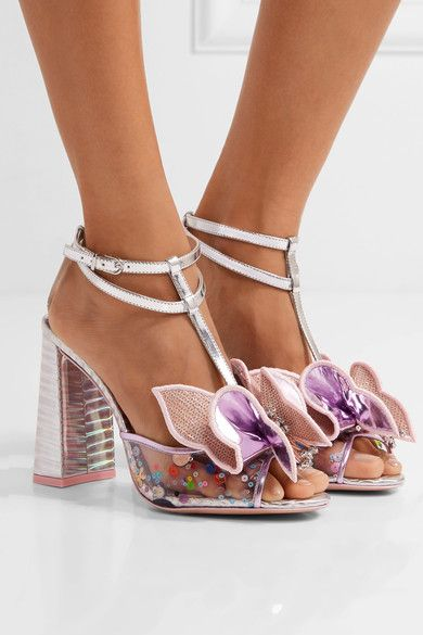 717a86501017 Sophia Webster - Lana Embellished Pvc And Metallic Leather Sandals - Silver