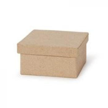 3 small square paper mache boxes with lids