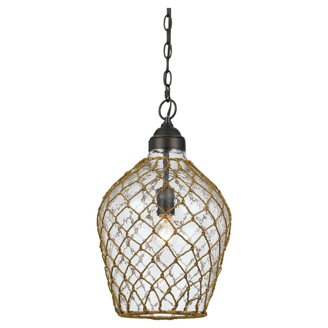 """Cal Lighting Rope Wrapped Bubble Glass Pendant (60"""" W x 4"""")"""