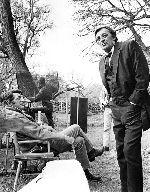 Dean Martin And Robert Mitchum On The Set Of 5 Card Stud 1968