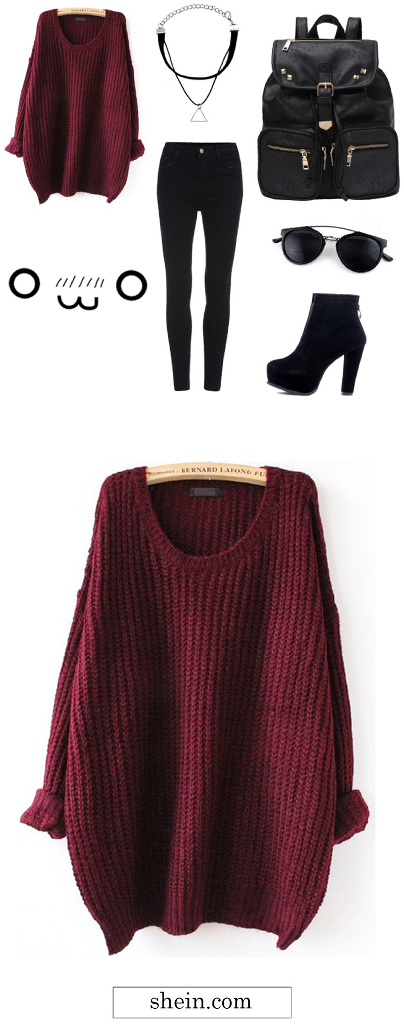 Red Batwing Loose Knit Sweater. Warm simple lazy style for winter ...