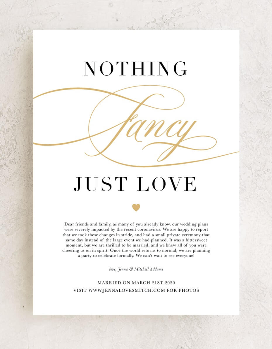 The Sweetest Wedding Announcements If You Didn't Want to Wait #COVID19 #covidwedding #coronabride #loveisnotcancelled #justmarried #elopementannouncement #elopement #weddingstationery #marriageannouncement