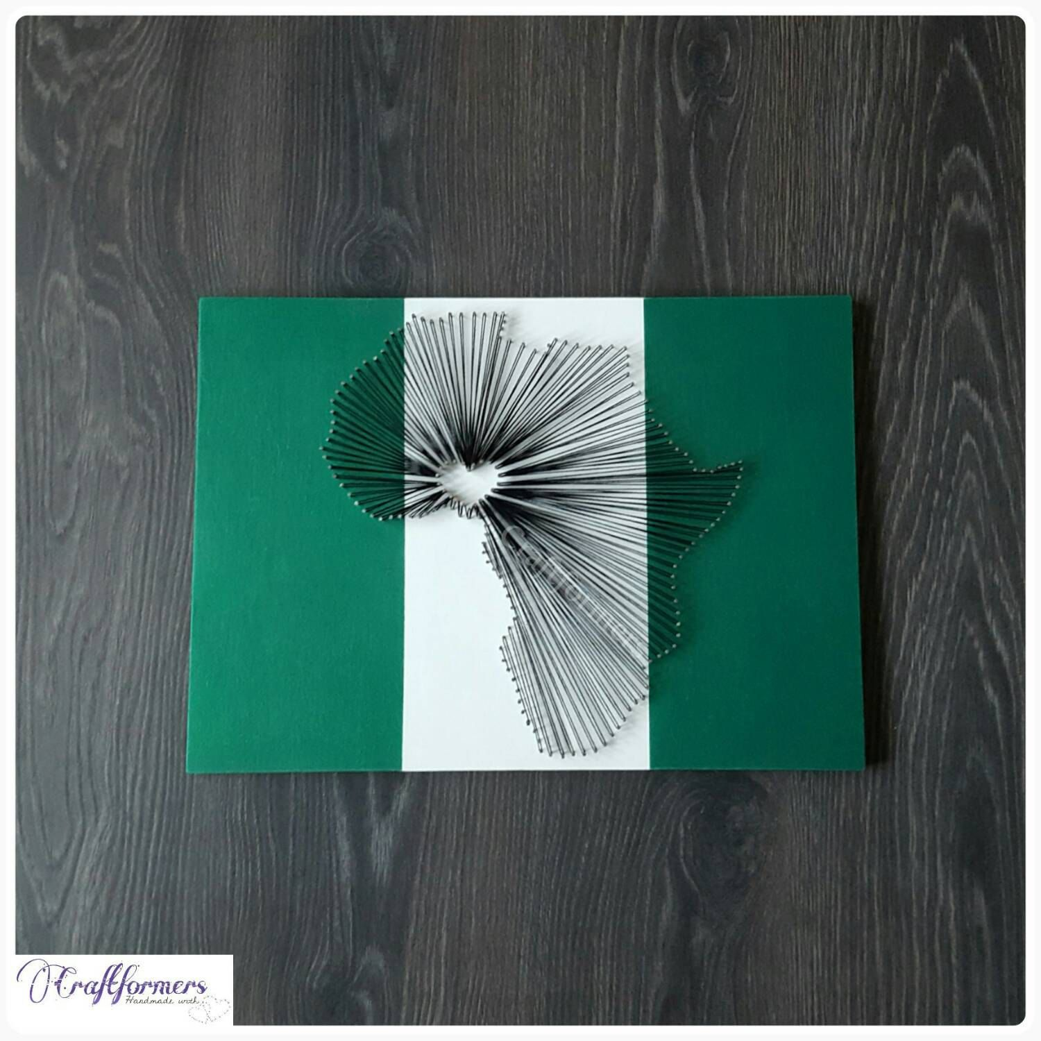 Handmade African Map String Art Nigerian