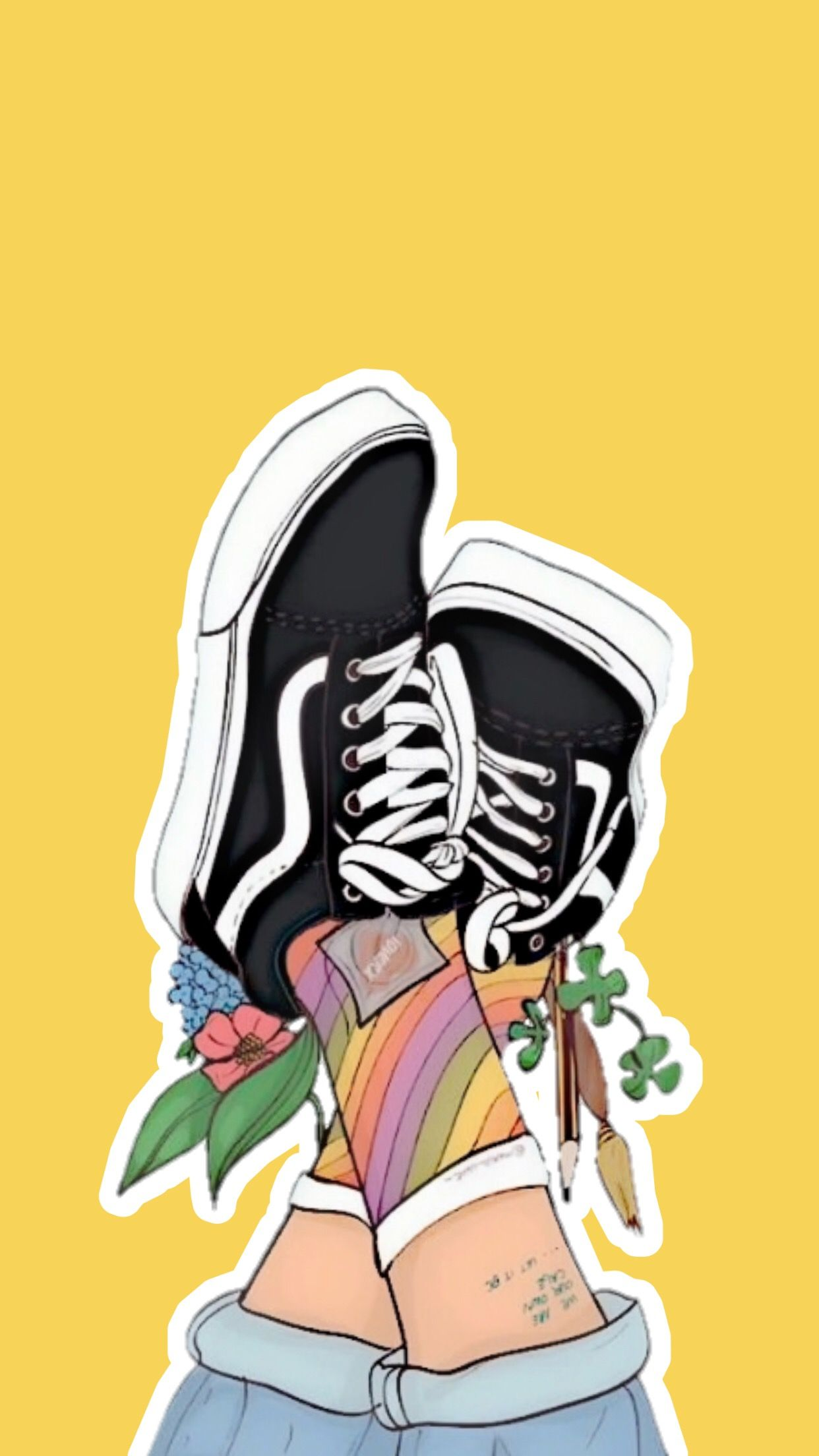 Yellow Lockscreen Wallpaper Background Aesthetic Vans Flowers